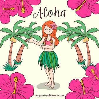 Sfondo della ragazza hawaiana con fiori disegnati a mano