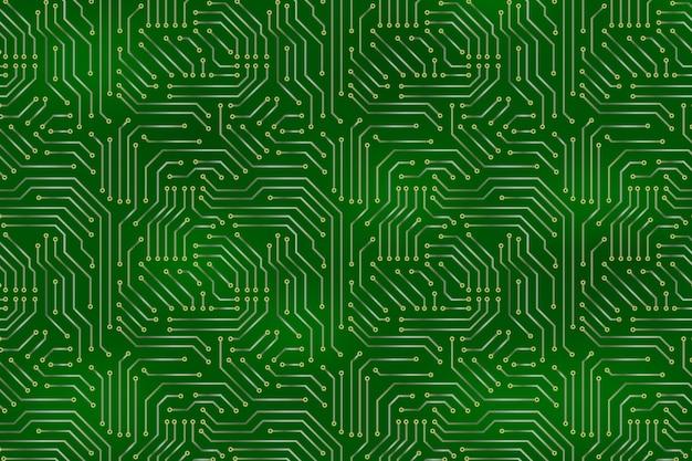 Sfondo della scheda madre del computer con elementi elettronici del circuito.