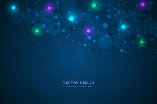 Sfondo della struttura molecolare e comunicazione.