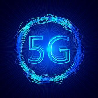 Sfondo della tecnologia 5g. sfondo dati digitali reti mobili di nuova generazione.