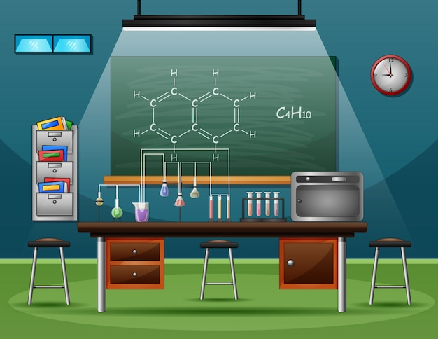 Sfondo dello spazio del laboratorio chimico e delle attrezzature molecolari