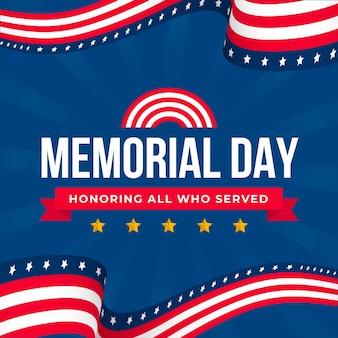 Sfondo design piatto memorial day con stelle e strisce