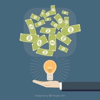 Sfondo di affari con lampadina e bollette