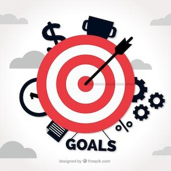 Sfondo di affari con target e gli elementi