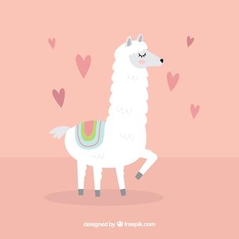 Sfondo di alpaca con il concetto di amore