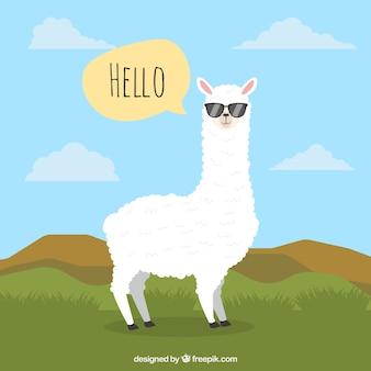 Sfondo di alpaca con nuvoletta