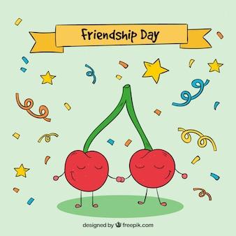 Sfondo di amici disegnati a mano ciliegia