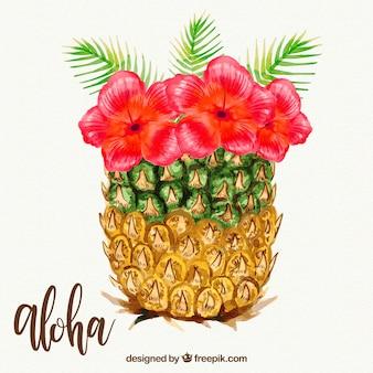 Sfondo di ananas con fiori di acquerello