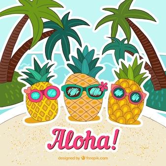 Sfondo di ananas con occhiali da sole disegnati a mano