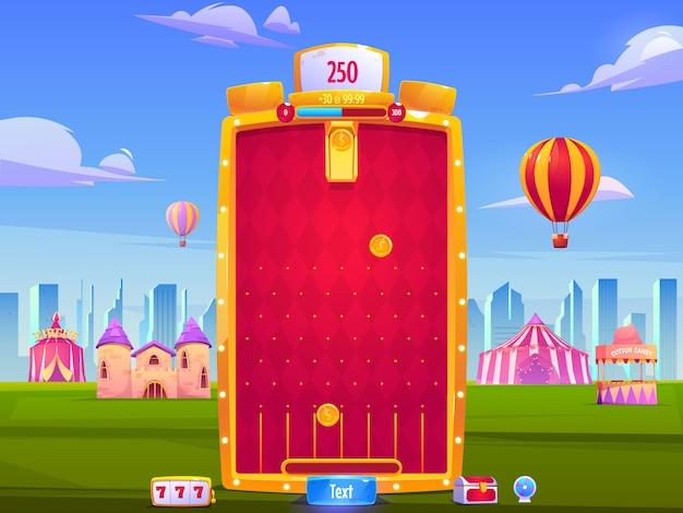 Sfondo di app di giochi per dispositivi mobili, interfaccia dell'applicazione