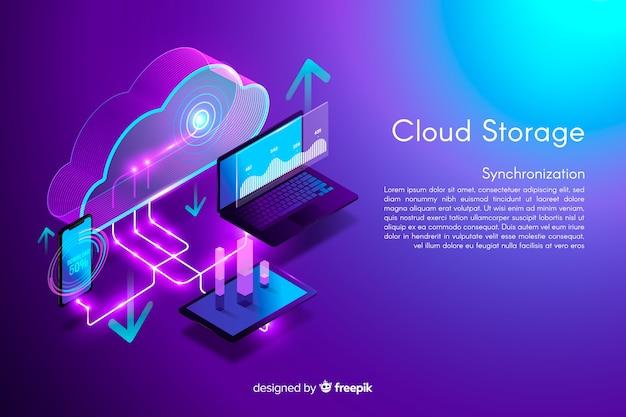 Sfondo di archiviazione cloud isometrica