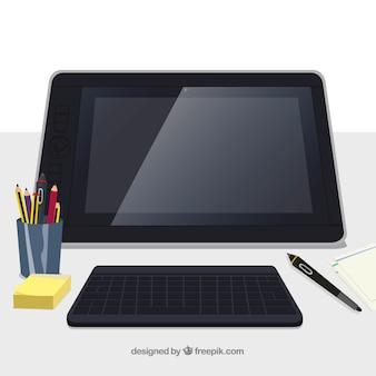 Sfondo di area di lavoro di progettazione grafica con scrivania e strumenti