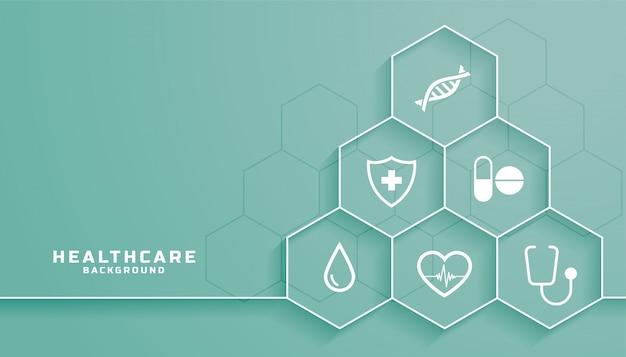 Sfondo di assistenza sanitaria con simboli medici in cornice esagonale