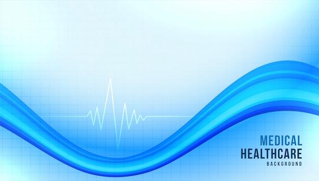 Sfondo di assistenza sanitaria medica con forma ondulata blu