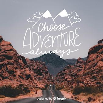 Sfondo di avventura lettering con foto