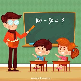 Sfondo di bambini che imparano in classe con insegnante
