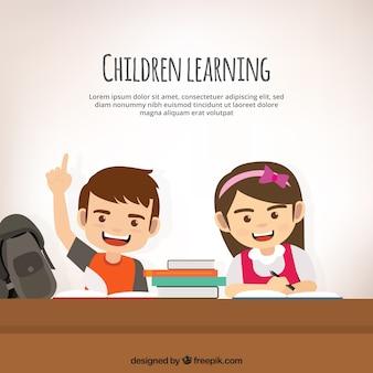 Sfondo di bambini che imparano