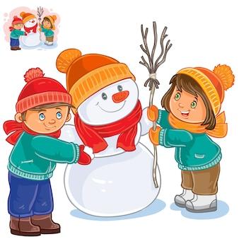 Sfondo di bambini e pupazzo di neve