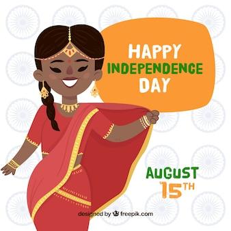 Sfondo di bella donna che celebra l'indipendenza dell'india