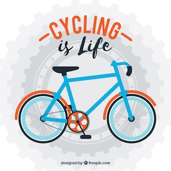 Sfondo di bicicletta in disegno piatto con una frase