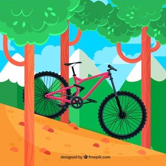 Sfondo di bicicletta nella foresta in disegno piatto