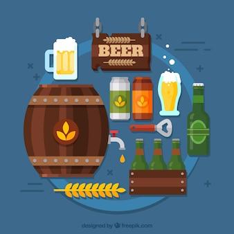 Sfondo di birra con elementi