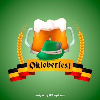 Sfondo di birra verdi e nastro di oktoberfest