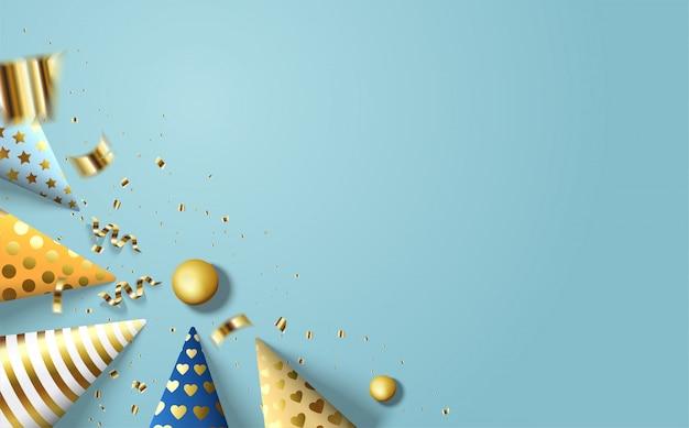 Sfondo di buon compleanno con illustrazioni di cappello colorato compleanno e pezzi strappati di carta folio oro sparsi sul mare blu