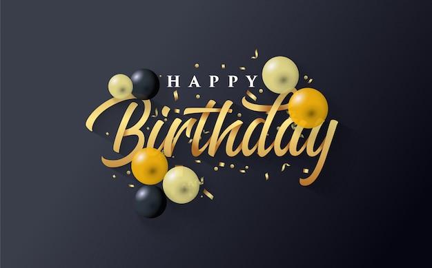 Sfondo di buon compleanno con oro e alcuni palloncini sul nero
