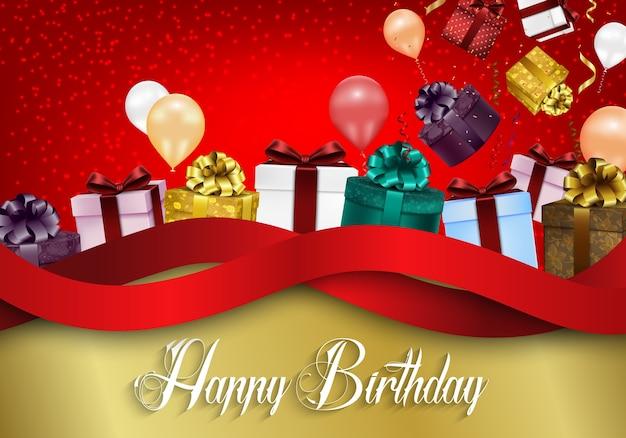 Sfondo di buon compleanno con palloncini di colore e scatole regalo