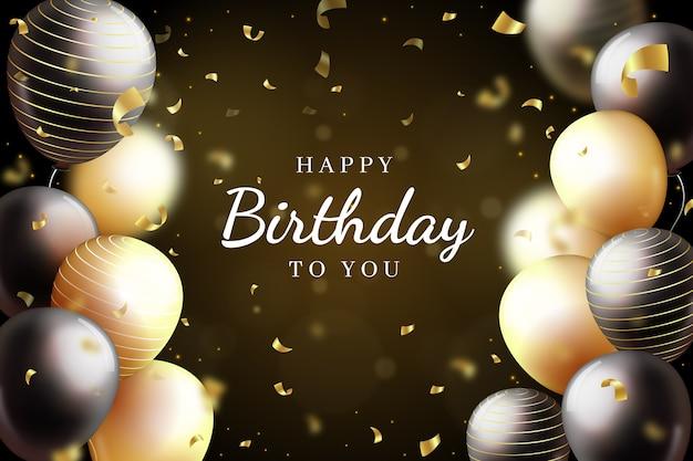 Sfondo di buon compleanno con palloncini dorati e neri