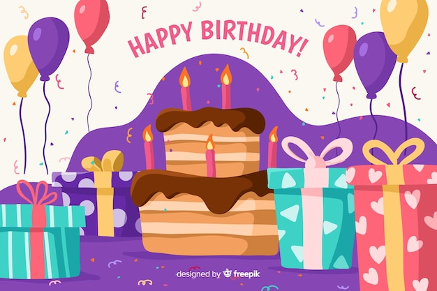 Sfondo di buon compleanno con palloncini e torta
