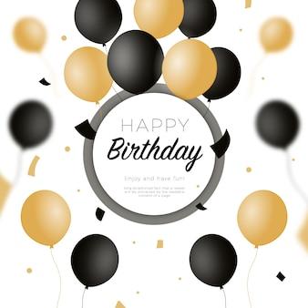 Sfondo di buon compleanno con palloncini neri e dorati