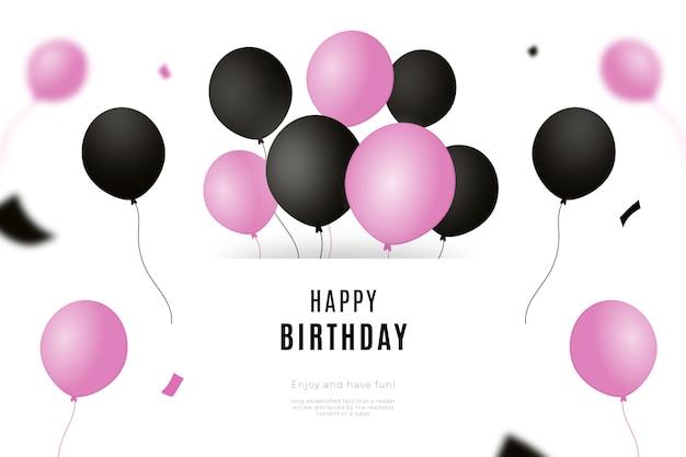 Sfondo di buon compleanno con palloncini neri e rosa