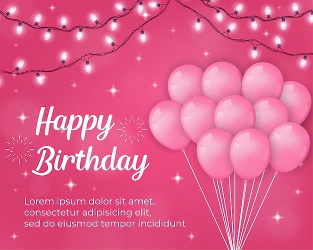 Sfondo di buon compleanno con palloncini rosa e decorazioni chiare