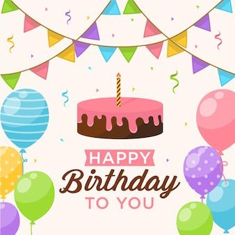 Sfondo di buon compleanno con palloncini, torta e coriandoli