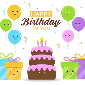 Sfondo di buon compleanno con scatola di torta, palloncini e regali