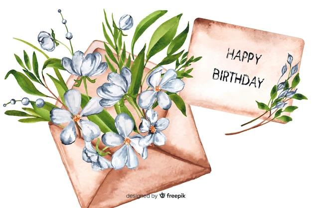 Sfondo di buon compleanno in stile acquerello