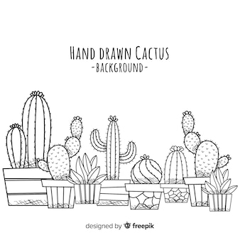Sfondo di cactus disegnato a mano