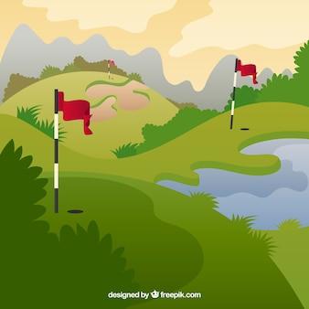 Sfondo di campo da golf in stile piatto