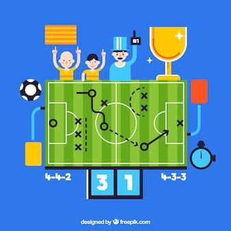 Sfondo di campo di calcio in stile piano
