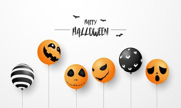 Sfondo di carnevale di halloween, palloncini viola arancioni, concept design party, illustrazione di celebrazione.