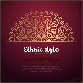 Sfondo di carta stile etnico con mandala e testo modello, colore rosso e dorato