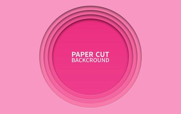 Sfondo di carta tagliata di cerchio. strati ondulati rosa