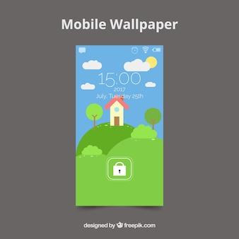 Sfondo di casa mobile sul campo in progettazione piatta