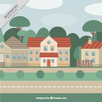 Sfondo di case e alberi in design piatto