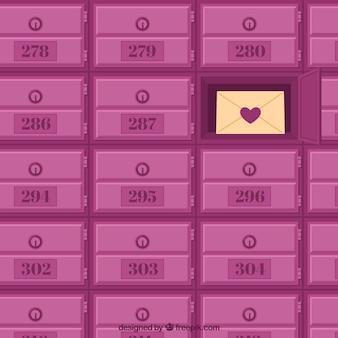 Sfondo di caselle di posta rosa con una lettera d'amore