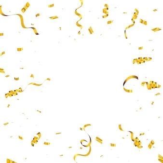 Sfondo di celebrazione con coriandoli e nastri d'oro. biglietto di auguri ricco di lusso.