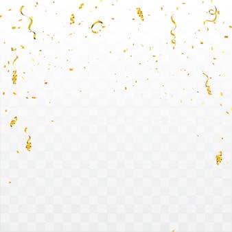 Sfondo di celebrazione con coriandoli e nastri d'oro