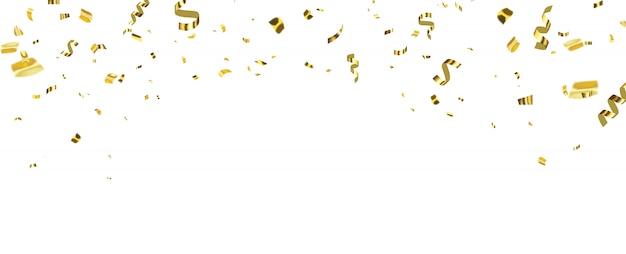 Sfondo di celebrazione con nastri d'oro coriandoli.